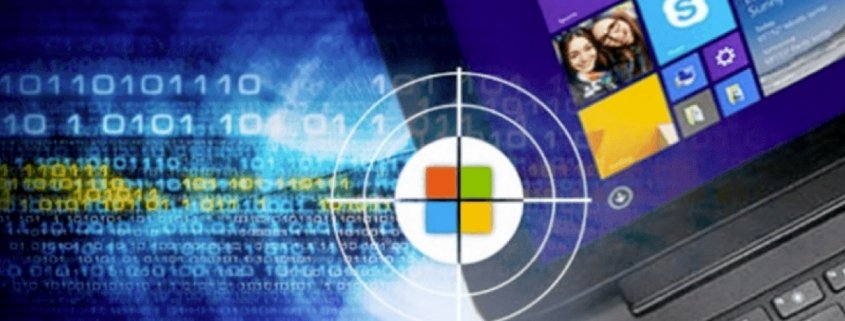 Microsoft logo and laptop with target
