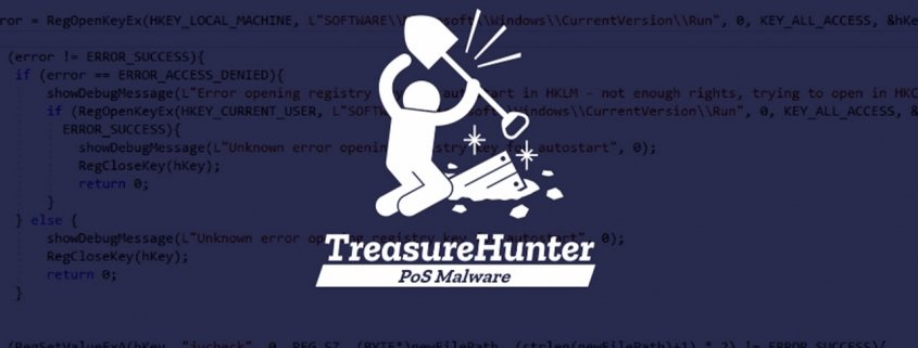 TreasureHunter logo on code background