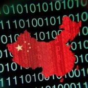 China map overlaid on green binary code