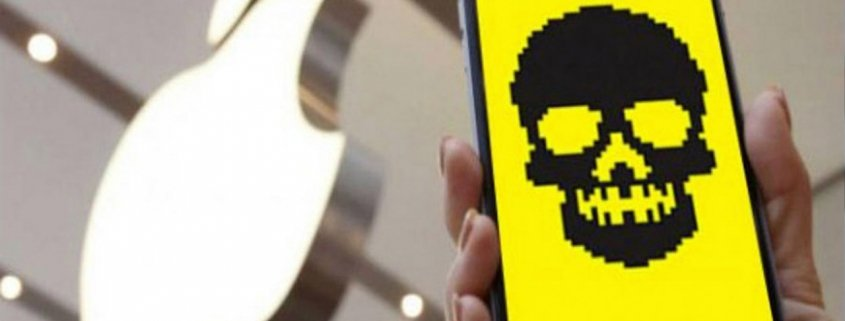 Person holding smart phone with skull on screen