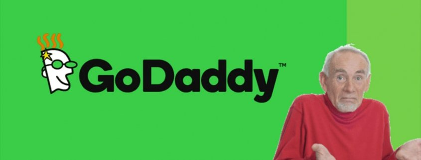 GoDaddy logo with man shrugging