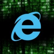 Internet-Explorer logo over green code