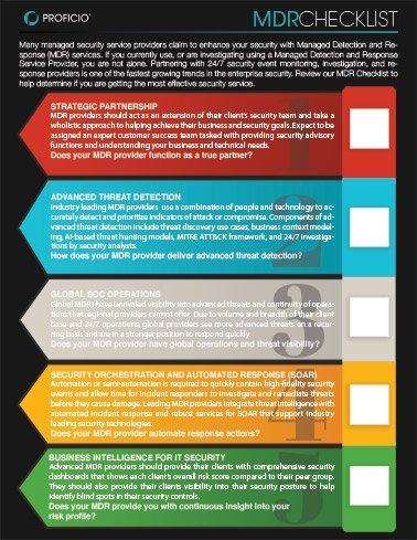 Proficio MDR Checklist