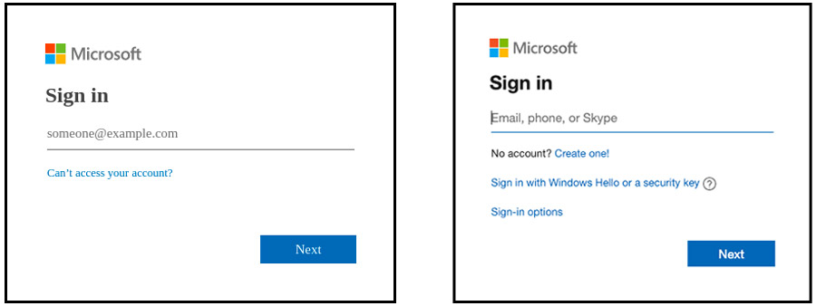 An example of a fake Microsoft login page