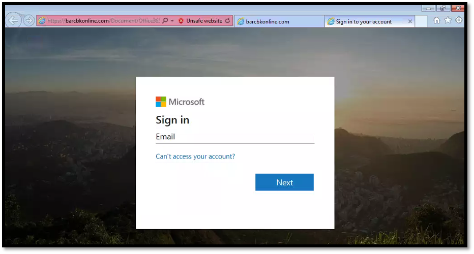 Fake Microsoft login page