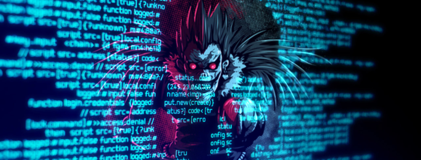 Ryuk Ransomware with Skull Outline on Computer Code