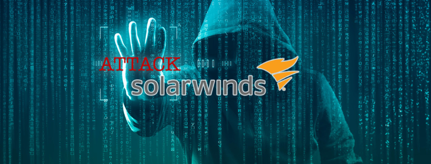 Binary Code over Hooded Hacker with words Attack and SolarWinds